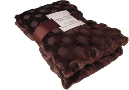 BROWN COLOUR CIRCLES FAUX FUR THROW